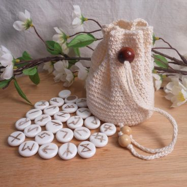 Rune Bag Cream Crocheted Elder Futhark with Wood Beads White Runestones Talisman Bag