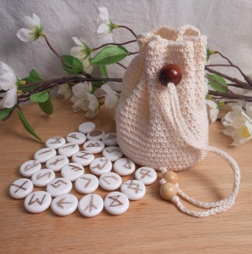 Rune Bag Cream Crocheted Elder Futhark with Wood Beads White Runestones Talisman Bag