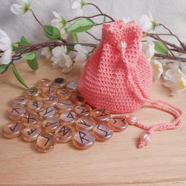 Rune Bag Peach Crocheted Elder Futhark with Round Beads Peach Runestones Talisman Bag