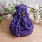 Rune Bag Purple Crocheted Elder Futhark with Faceted Beads Clear Runestones Talisman Bag closed