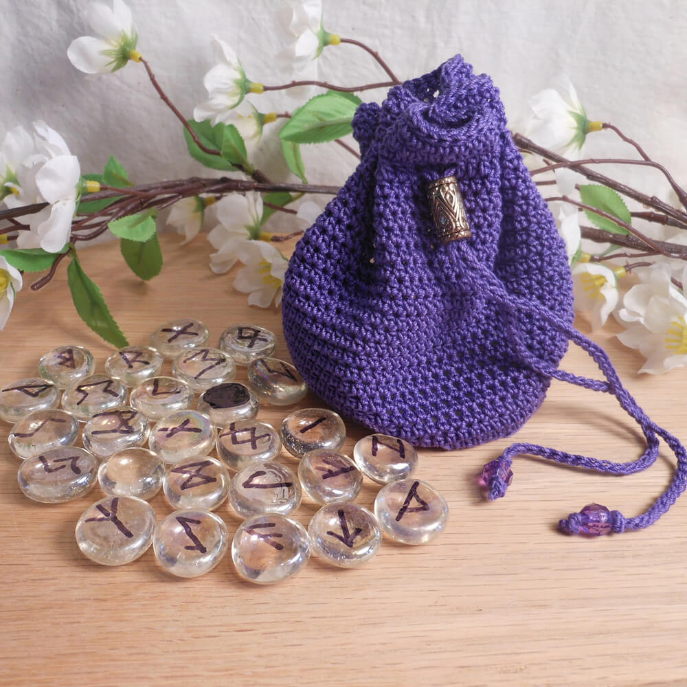 Purple Crocheted Drawstring Bag With Clear Glass Rune Set Meaning