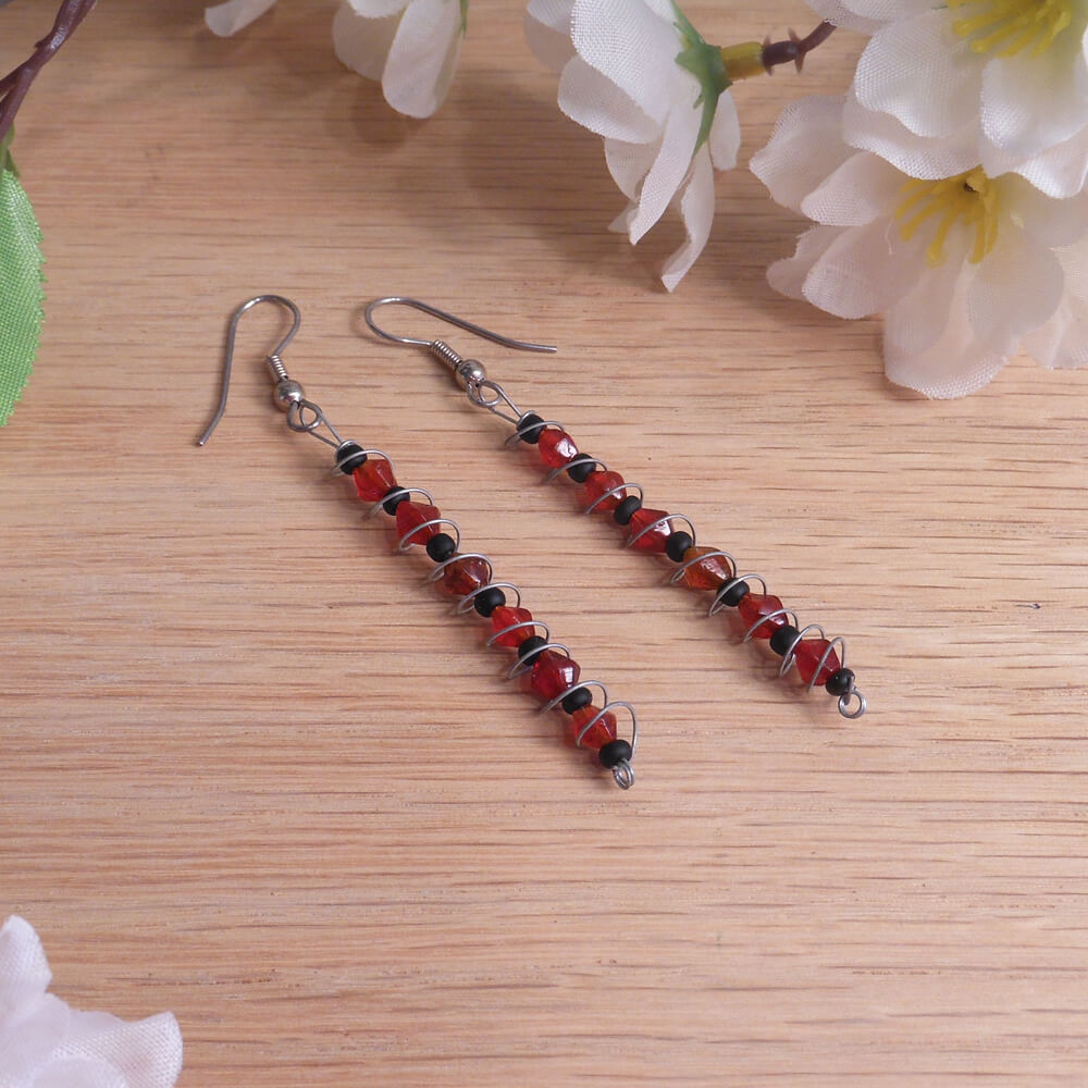 Wire Earrings Spiral Dangle with Black Red Glass Beads Shepherd Hook Earwire
