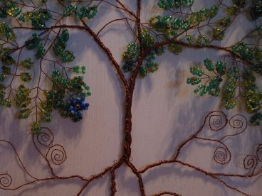 Beaded Wire Tree of Life Artistic Framed Sculpture Nature Art Signed Original 3