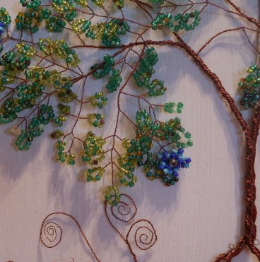 Beaded Wire Tree of Life Artistic Framed Sculpture Nature Art Signed Original 4