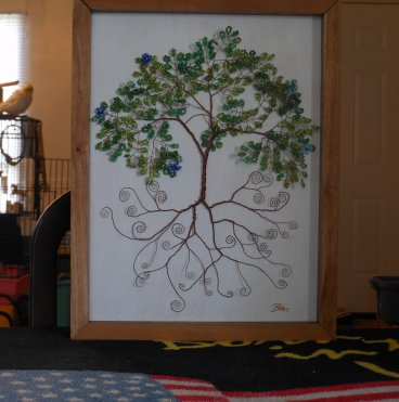 Beaded Wire Tree of Life Artistic Framed Sculpture Nature Art Signed Original 5