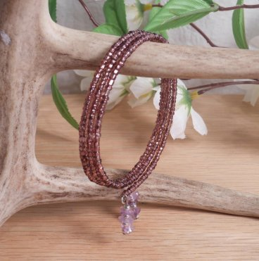 Bracelet Amethyst Gemstone Dangle Glass Bead Adjustable Memory Wire hanging