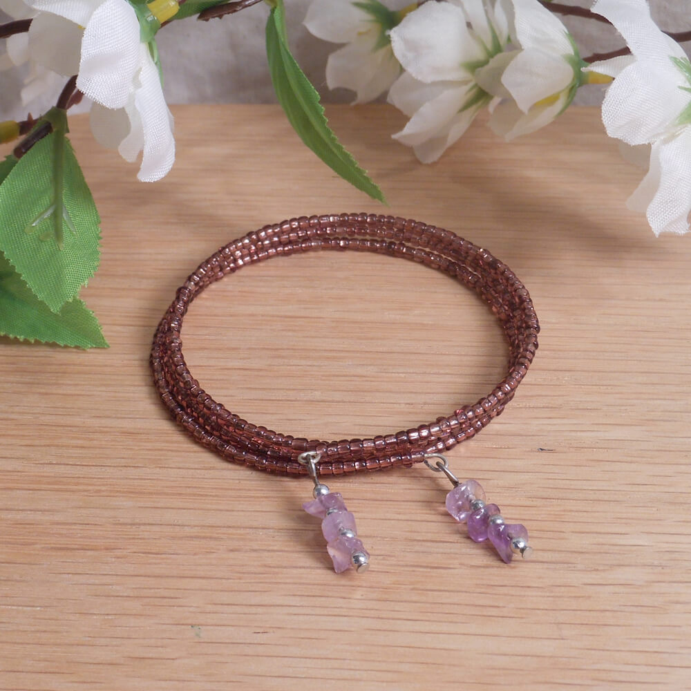 Bracelet Amethyst Gemstone Dangle Glass Bead Adjustable Memory Wire
