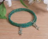 Bracelet Aventurine Gemstone Dangle Glass Bead Adjustable Memory Wire