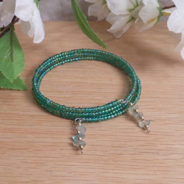 Bracelet Aventurine Gemstone Dangle Glass Bead Adjustable Memory Wire
