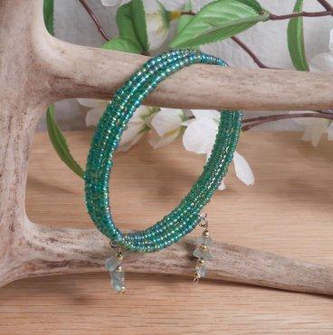 Bracelet Aventurine Gemstone Dangle Glass Bead Adjustable Memory Wire hanging