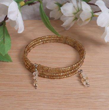 Bracelet Citrine Gemstone Dangle Glass Bead Adjustable Memory Wire