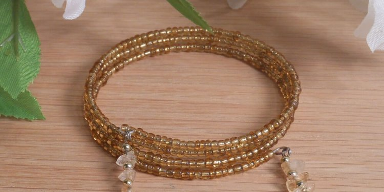 Bracelet Citrine Gemstone Dangle Glass Bead Adjustable Memory Wire