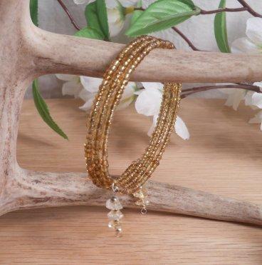 Bracelet Citrine Gemstone Dangle Glass Bead Adjustable Memory Wire hanging
