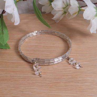 Bracelet Clear Quartz Gemstone Dangle Glass Bead Adjustable Memory Wire