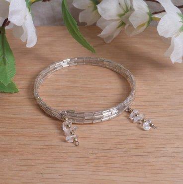 Bracelet Clear Quartz Gemstone Dangle Glass Bead Adjustable Memory Wire