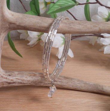 Bracelet Clear Quartz Gemstone Dangle Glass Bead Adjustable Memory Wire hanging