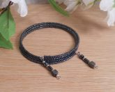 Bracelet Hematite Gemstone Dangle Glass Bead Adjustable Memory Wire