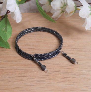 Bracelet Hematite Gemstone Dangle Glass Bead Adjustable Memory Wire
