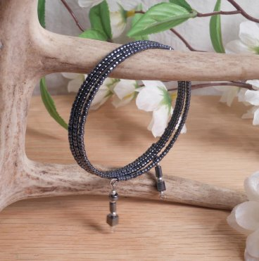 Bracelet Hematite Gemstone Dangle Glass Bead Adjustable Memory Wire hanging