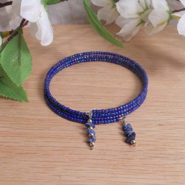 Bracelet Lapis Lazuli Gemstone Dangle Glass Bead Adjustable Memory Wire