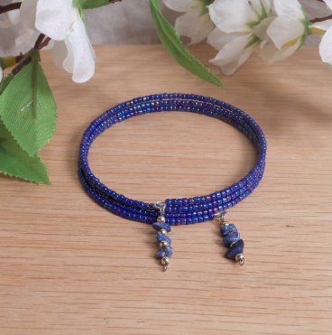 Bracelet Lapis Lazuli Gemstone Dangle Glass Bead Adjustable Memory Wire