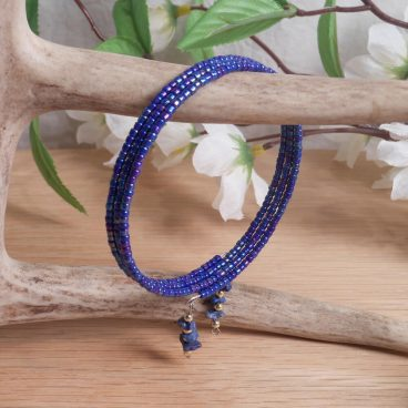 Bracelet Lapis Lazuli Gemstone Dangle Glass Bead Adjustable Memory Wire hanging