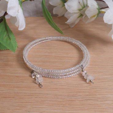 Bracelet Moonstone Gemstone Dangle Glass Bead Adjustable Memory Wire