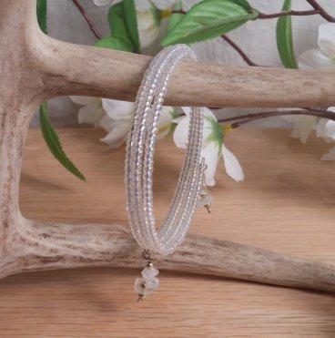 Bracelet Moonstone Gemstone Dangle Glass Bead Adjustable Memory Wire hanging