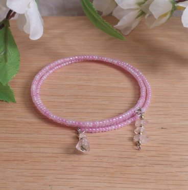 Bracelet Rose Quartz Gemstone Dangle Glass Bead Adjustable Memory Wire
