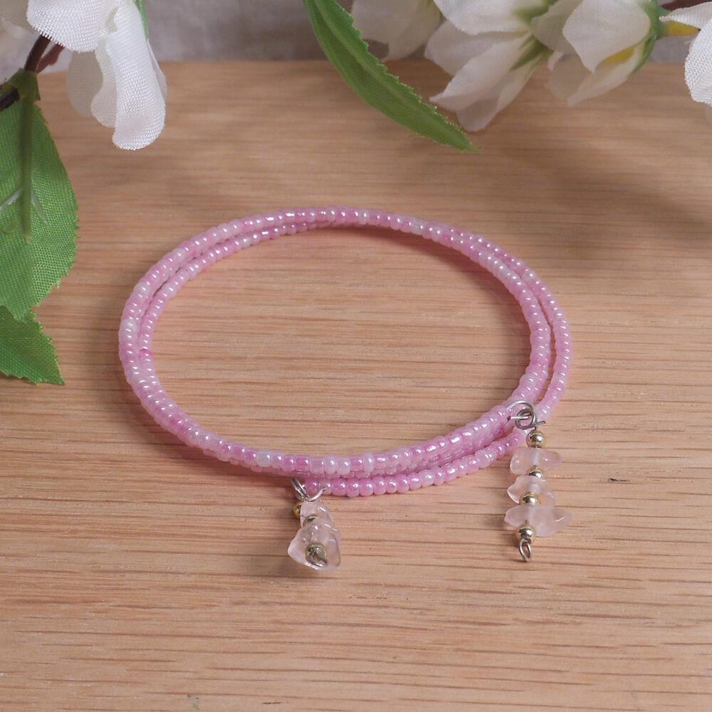 Bracelet Rose Quartz Gemstone Dangle Glass Bead Adjustable Memory Wire