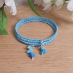 Bracelet Turquoise Gemstone Dangle Glass Bead Adjustable Memory Wire