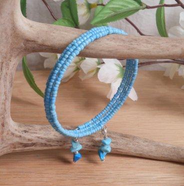 Bracelet Turquoise Gemstone Dangle Glass Bead Adjustable Memory Wire hanging