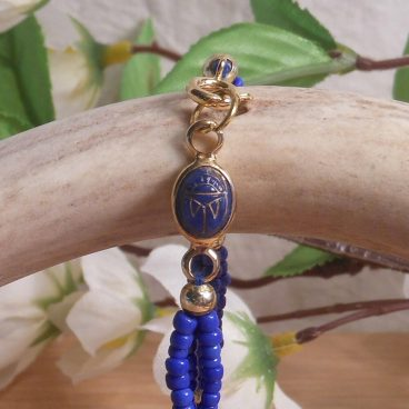 Bracelet Scarab Three Strand Braided Beads Blue close