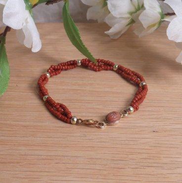 Bracelet Scarab Three Strand Braided Beads Red