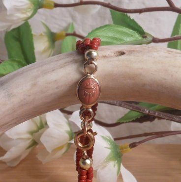 Bracelet Scarab Three Strand Braided Beads Red close