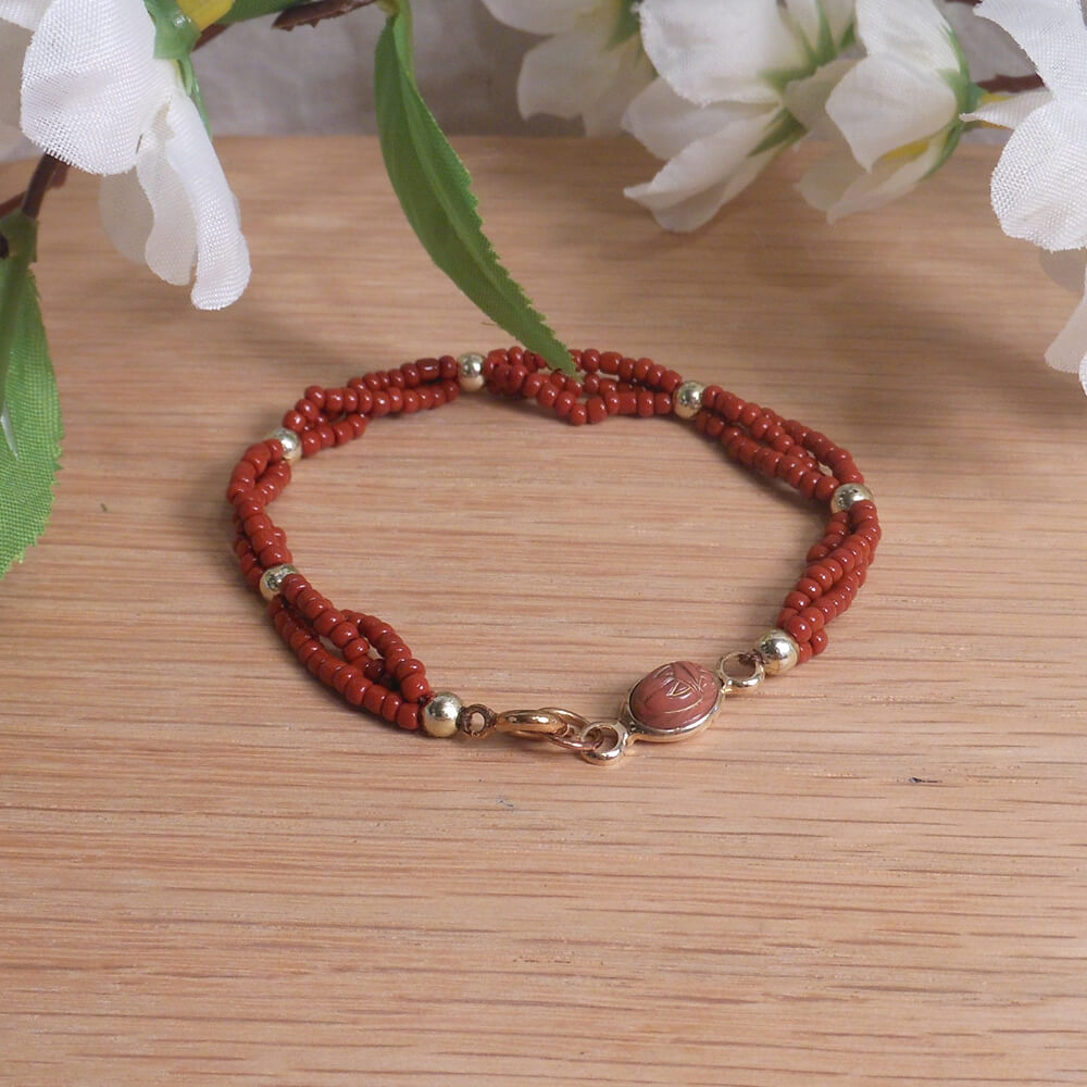 Bracelet Scarab Three Strand Braided Beads Red