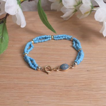 Bracelet Scarab Three Strand Braided Beads Turquoise