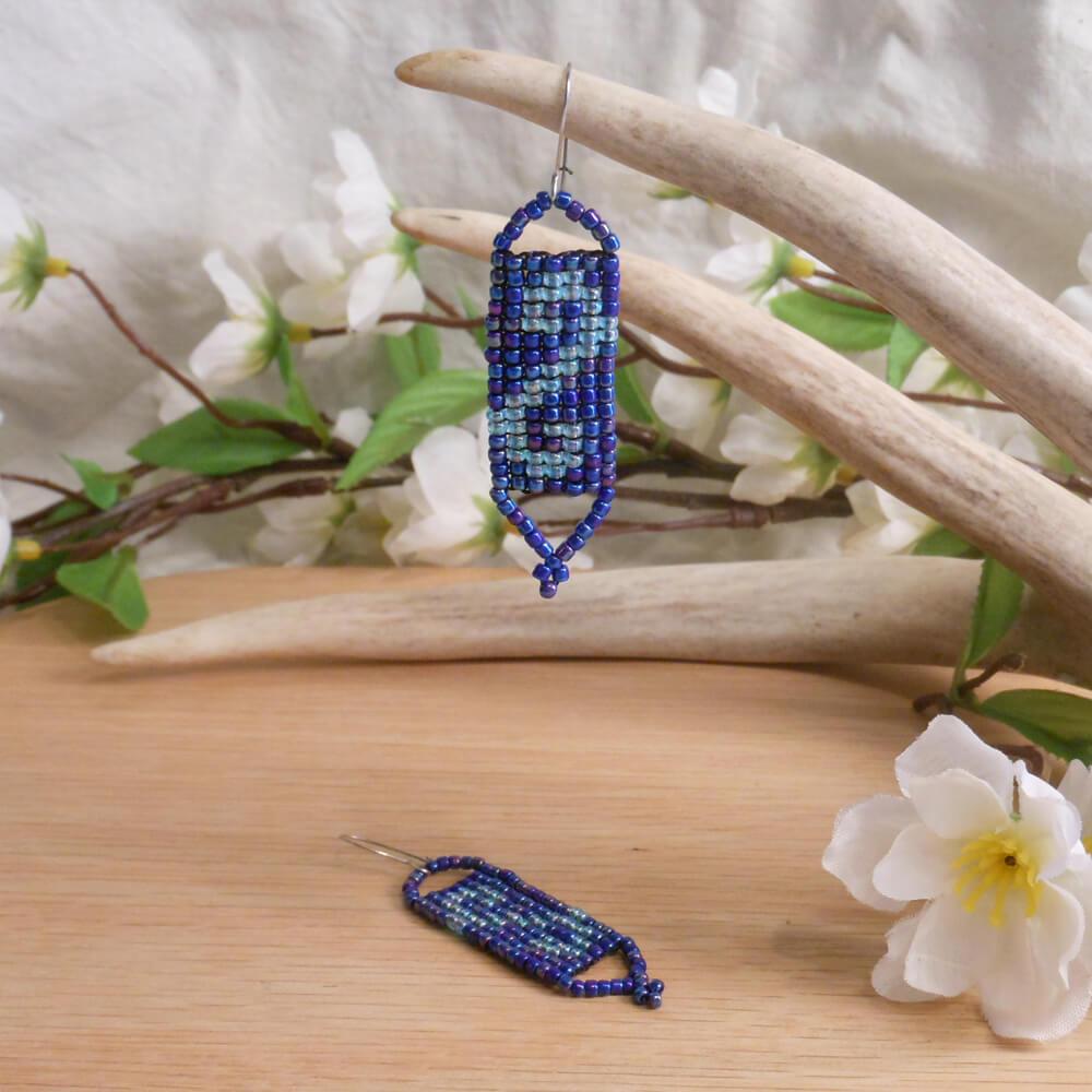 Choker Earrings Set Hand Woven Iridescent Light Blue Beads 2