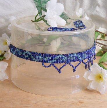 Choker Earrings Set Hand Woven Iridescent Light Blue Beads 3