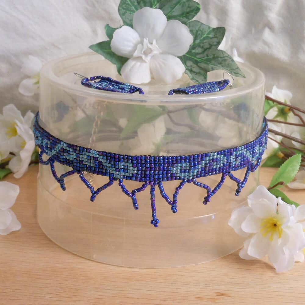 Choker Earrings Set Hand Woven Iridescent Light Blue Beads