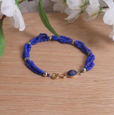 Bracelet Scarab Three Strand Braided Beads Blue