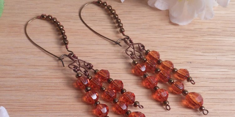 Earrings Amber Faceted Chandelier Oversize Kidney Hook