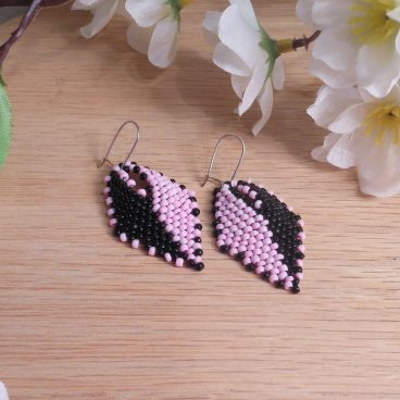 Earrings Black Pink Split Glass Russian Leaf Beaded Kidney Earwire