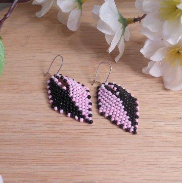 Earrings Black Pink Split Glass Russian Leaf Beaded Kidney Earwire