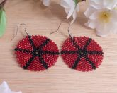 Earrings Black Red Glass Peyote Circle Star Beaded Steel Shepherd Hook Earwire