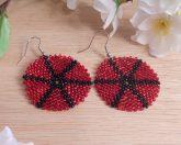 Earrings Black Red Glass Peyote Circle Star Beaded Steel Shepherd Hook Earwire
