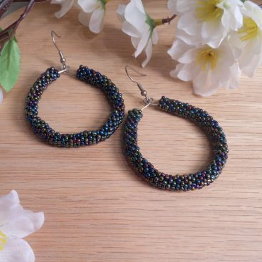 Earrings Iridescent Glass Peyote Stitch Hoop Beaded Steel Shepherd Hook