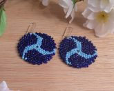 Earrings Light Dark Blue Glass Peyote Circle Triskelion Beaded Steel Kidney Earwire