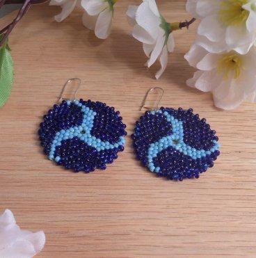 Earrings Light Dark Blue Glass Peyote Circle Triskelion Beaded Steel Kidney Earwire