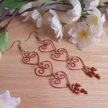 Earrings Triple Red Hearts Swarovski Dangle Shepherd Hook